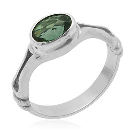 Royal Bali Collection Blue Fluorite (Ovl) Solitaire Ring in Sterling Silver 1.520 Ct. Silver wt 3.90 Gms.