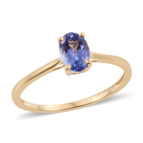 Tanzanite 0.60 Ct Silver Solitaire Ring in Gold Overlay