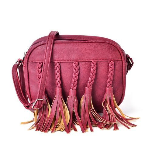 Sienna Summer Berry Colour Hand Braided Tassel Cross body Bag (Size 20x16x6.5 Cm)