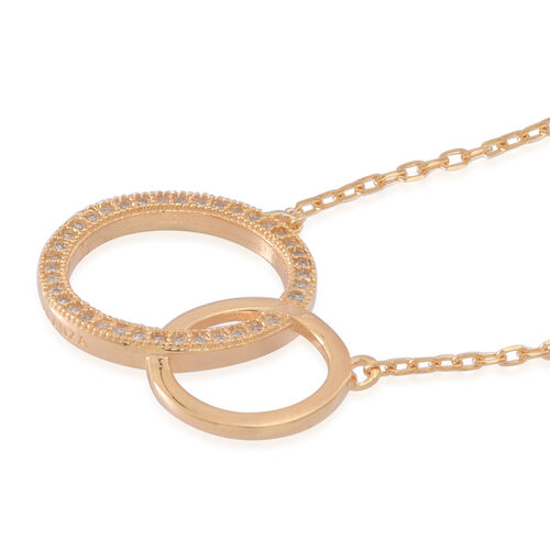 ELANZA AAA Simulated White Diamond (Rnd) Circle Necklace (Size 16) in 14K Gold Overlay Sterling Silver