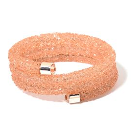 Designer Inspired AAA Peach Austrian Crystal Bangle (Size 7.5) in Rose Gold Tone
