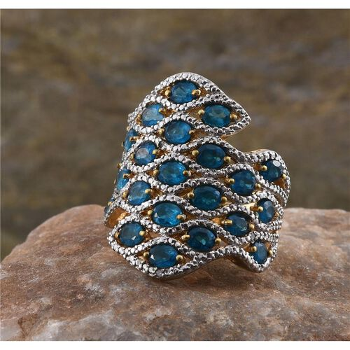 Malgache Neon Apatite (Ovl), Diamond Ring in 14K Gold Overlay Sterling Silver 4.520 Ct.