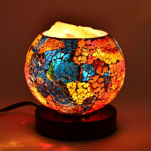 Home Decor - Yellow, Blue and Multi Colour Mosaic Glass Table Lamp with Himalayan Salt on a Metal Base with Electric Fitting