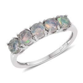 Ethiopian Welo Opal 5 Stone Ring in Platinum Overlay Sterling Silver