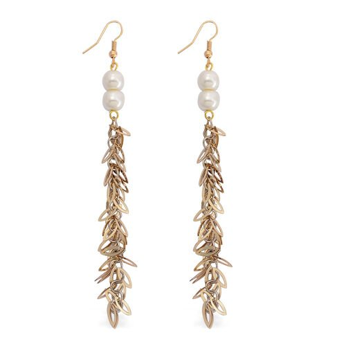 White Shell Pearl Hook Earrings in Gold Tone