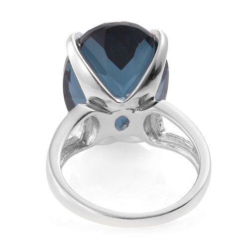Indicolite Quartz (Ovl) Ring in Platinum Overlay Sterling Silver 18.500 Ct.