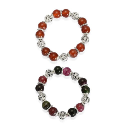 Set of 2 - Red Agate and Multi Agate Bracelet (Size 7.50) in Silver Tone