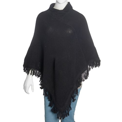 100% Australian Lamb Wool Black Colour Knitted Poncho with Fringes (Free Size)
