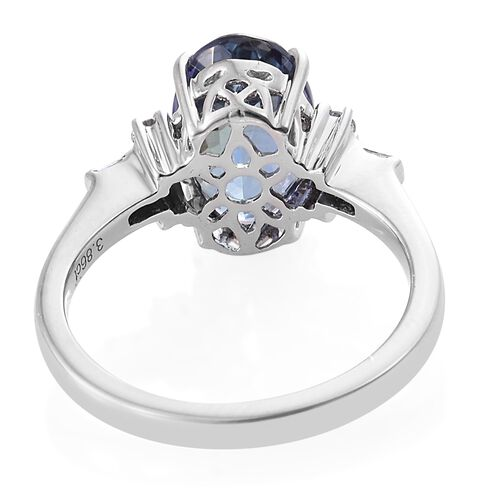 ILIANA 18K White Gold 4 Carat Very Rare Peacock Tanzanite Ring with Diamond