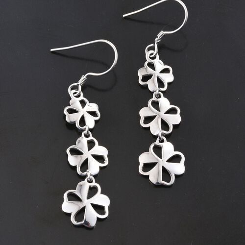 Designer Inspired-Rhodium Plated Sterling Silver Floral Hook Earrings, Silver wt 4.74 Gms.