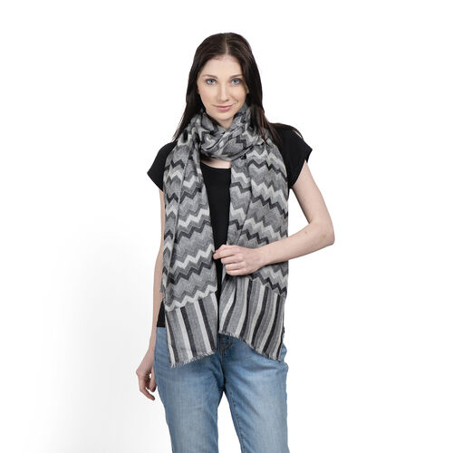 100% Cashmere Wool Black and Grey Colour Zig Zag Pattern Scarf (Size 200x70 Cm)