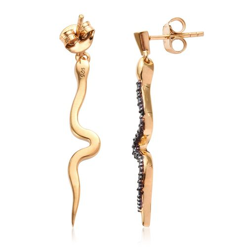 Black Diamond Silver Snake Earrings (with Push Back) in Gold Overlay