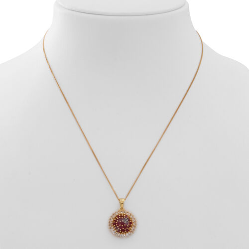 Burmese Ruby (Rnd), White Topaz Pendant With Chain in 14K Gold Overlay Sterling Silver 2.750 Ct.