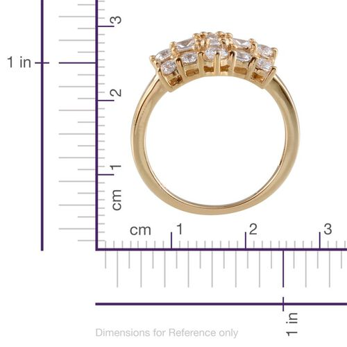 J Francis - 14K Gold Overlay Sterling Silver (Rnd) Ring Made With SWAROVSKI ZIRCONIA 1.060 Ct.