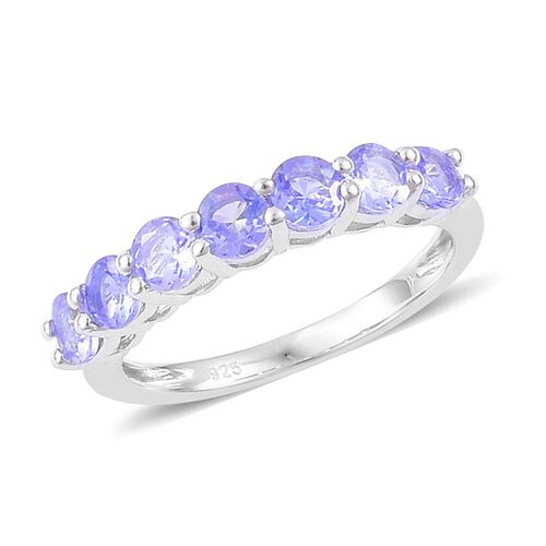 Tanzanite (Rnd) 7 Stone Ring in Platinum Overlay Sterling Silver 1.250 Ct.