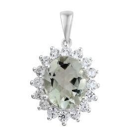 Mega Deal-Green Amethyst (Ovl 2.25 Ct), Simulated Diamond Pendant in Sterling Silver 3.250 Ct.