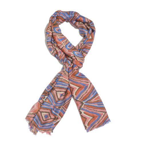 Hand Screen Printed Pink and Multi Colour Printed Scarf (Size 180x55 Cm)