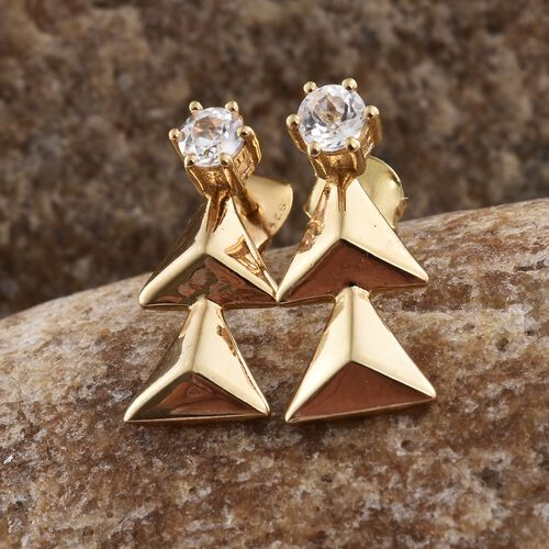 Natural Cambodian Zircon (Rnd) 0.75 Carat Xmas Tree Silver Earrings in 14K Gold Overlay (with Push Back)
