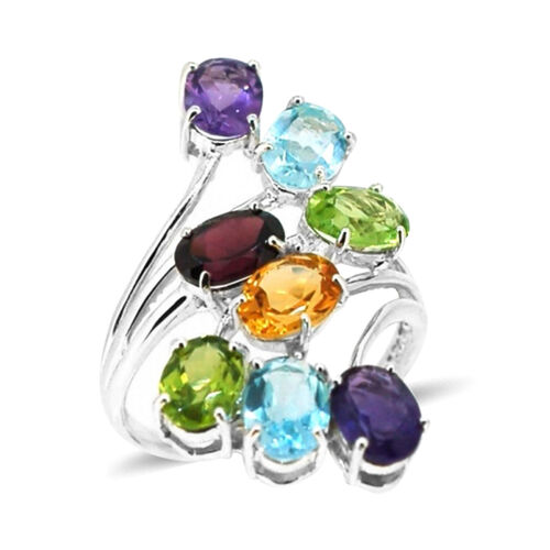 AA Rhodolite Garnet, Sky Blue Topaz, Amethyst, Citrine and Hebei Peridot Crossover Ring in Rhodium Plated Sterling Silver 6.750 Ct.