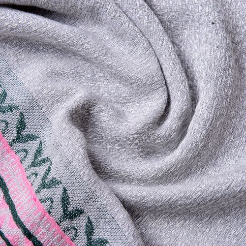 New Season-Grey, Pink and Multi Colour Zigzag Pattern Scarf with Fringes (Size 180X65 Cm)