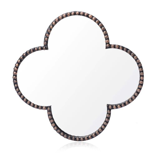 (Option 2) Clover Shaped Decorative Metallic Wall Mirror (Size 5x35 Cm)