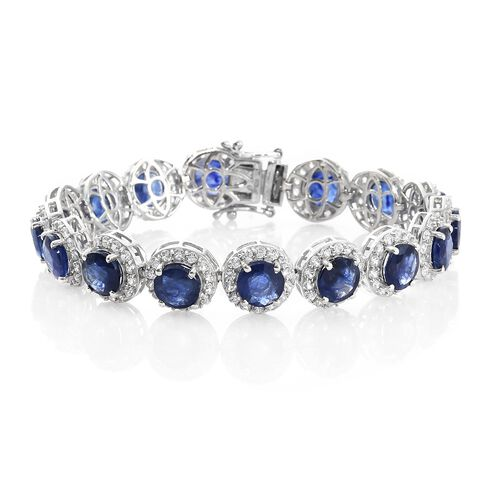 Duchess Inspired - Rare Size Masoala Sapphire (Rnd), Natural Cambodian Zircon Bracelet (Size 8.25) in Platinum Overlay Sterling Silver 47.000 Ct. Silver wt. 20.00 Gms. Stone Studded 240 Pcs