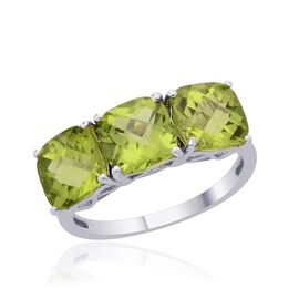 Hebei Peridot (Cush) Trilogy Ring in Platinum Overlay Sterling Silver 4.000 Ct.