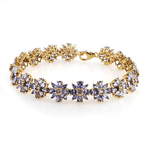 Tanzanite (Pear) Bracelet (Size 7.5 with Extender) in 14K Gold Overlay Sterling Silver 14.000 Ct.