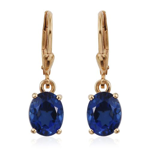 Ceylon Colour Quartz (Ovl) Lever Back Earrings in 14K Gold Overlay Sterling Silver 4.250 Ct.