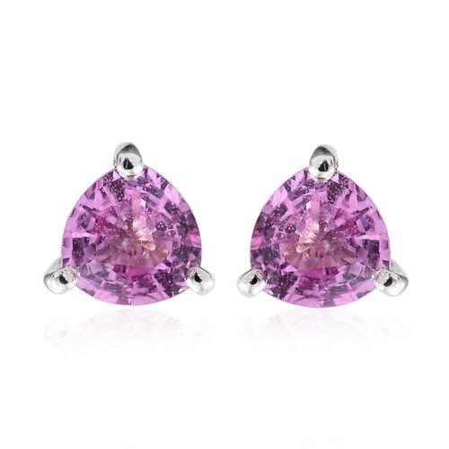 RHAPSODY 950 Platinum AAAA Pink Sapphire (Trl) Stud Earrings (with Screw Back) 1.000 Ct.