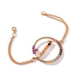 Paraiba Apatite (Ovl), Rhodolite Garnet, Citrine, Tanzanite, Jalisco Fire Opal, Amethyst and Multi Gemstone Initial D Bracelet (Size 9 with Extender) in 14K Gold Overlay Sterling Silver 1.774 Ct.