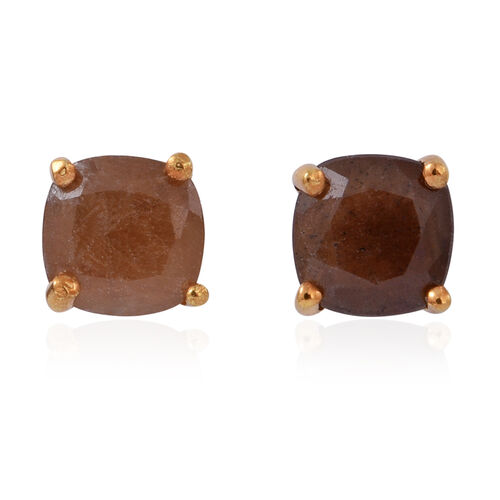 Chocolate Sapphire (Cush) Stud Earrings (with Push Back) in 14K Gold Overlay Sterling Silver 2.500 Ct.
