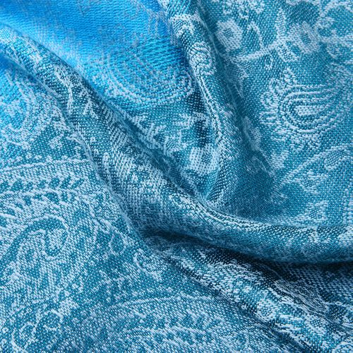 Blue Colour Paisley Pattern Scarf with Tassels (Size 180X65 Cm)
