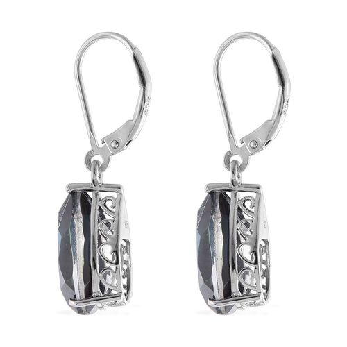 Indicolite Quartz (Pear) Lever Back Earrings in Platinum Overlay Sterling Silver 12.000 Ct.