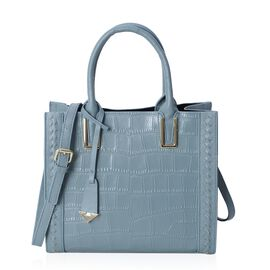 100% Genuine Leather Light Blue Colour Tote Bag with Removable Shoulder Strap (Size 28x24.5x12 Cm)