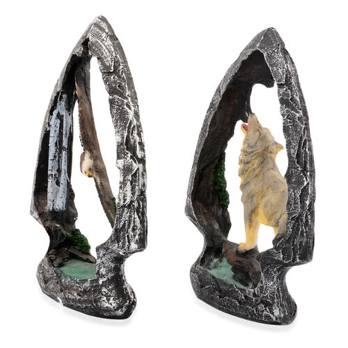 Set of 2 - Home Decor White, Brown Eagle and Yellow, Grey Wolf with Resin