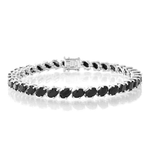 Boi Ploi Black Spinel (Ovl) Bracelet (Size 8) in Rhodium Plated Sterling Silver 20.000 Ct. Silver wt 12.25 Gms.