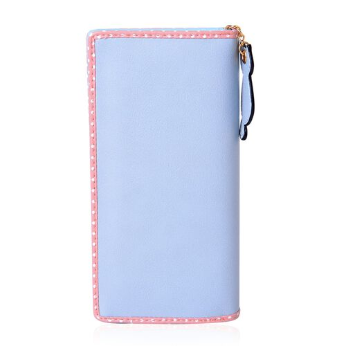 Cat Charm Blue and Pink Colour Wallet (Size 19x9x3 Cm)