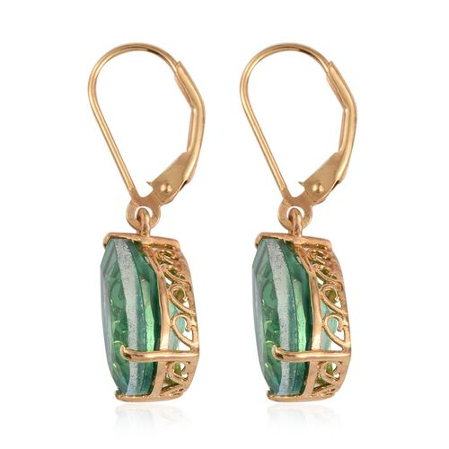 Peacock Quartz (Pear) Lever Back Earrings in 14K Gold Overlay Sterling Silver 11.500 Ct.