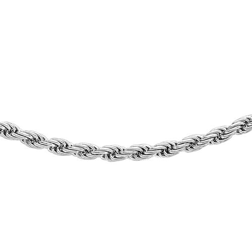 JCK Vegas Collection 9K White Gold Rope Chain Necklace Size 20 Inch, 4.70 Gms.