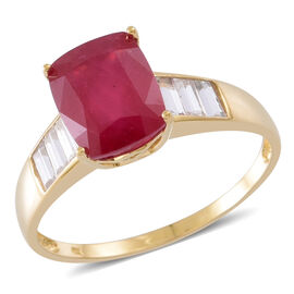 Exclusive Edition 9K Yellow Gold AAA African Ruby (Cush 4.65 Ct), Natural White Cambodian Zircon Ring 6.00 Ct.