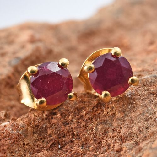 African Ruby Stud Earrings (with Push Back) in Gold Plated Silver 1.25 Ct