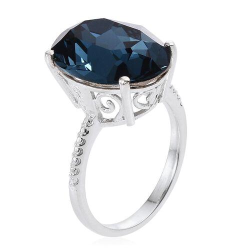 Crystal from Swarovski - Montana Crystal (Ovl) Ring in Sterling Silver