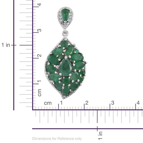 Limited Edition- Designer Inspired - Kagem Zambian Emerald (Pear), Natural Cambodian Zircon Earrings (with Push Back) in Platinum Overlay Sterling Silver 6.500 Ct., Silver wt 7.66 Gms.