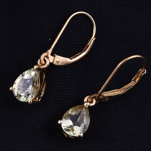 Natural Canary Apatite (Pear) Lever Back Earrings in 14K Gold Overlay Sterling Silver 2.250 Ct.
