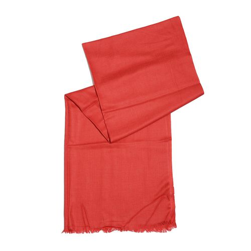 100%  Cashmere Wool - Hand Loomed Red Shawl (Size 200 x 70 Cm)