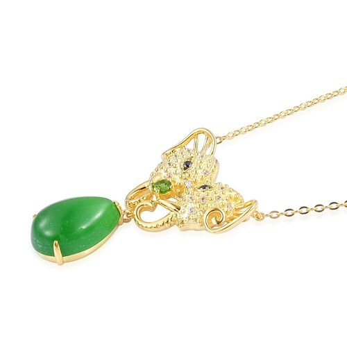 Green Jade (Pear), Russian Diopside, Boi Ploi Black Spinel and White Zircon Elephant Head Necklace (Size 18) in Yellow Gold Overlay Sterling Silver 6.760 Ct.