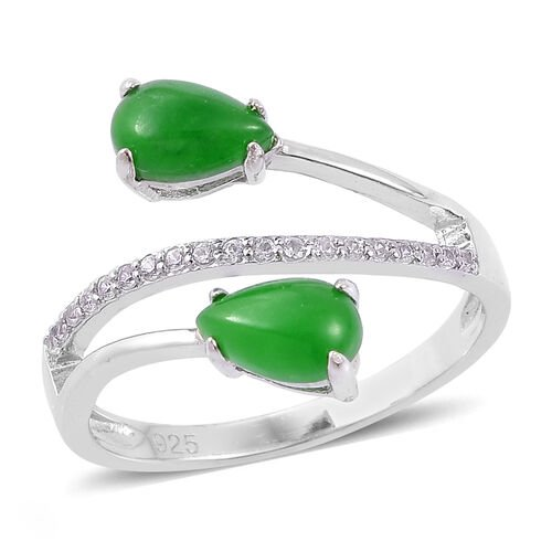Green Jade (Pear), White Zircon Ring in Platinum Overlay Sterling Silver 2.450 Ct.