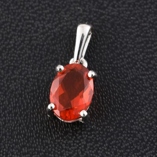 9K W Gold AA Jalisco Fire Opal (Ovl) Solitaire Pendant 0.500 Ct.