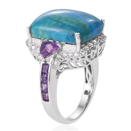 Natural Rare Opalina (Cush 10.75 Ct), Amethyst and Natural Cambodian Zircon Ring in Platinum Overlay Sterling Silver 12.750 Ct.